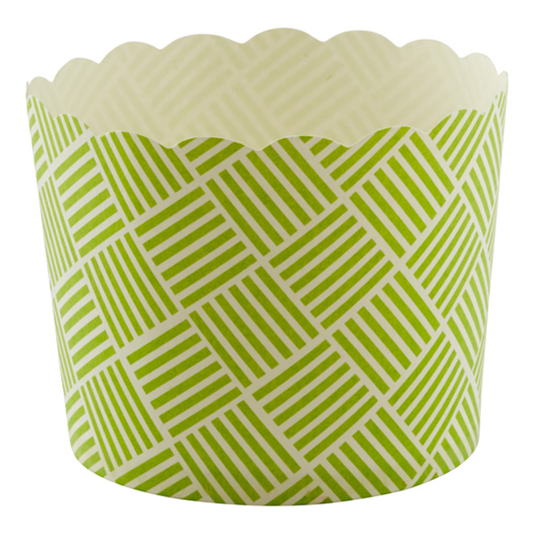 Large Baking Cups Basket Weave Green Pkg/20