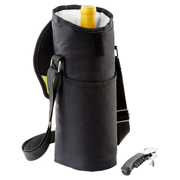 Single Bottle Wine Tote Black/Green