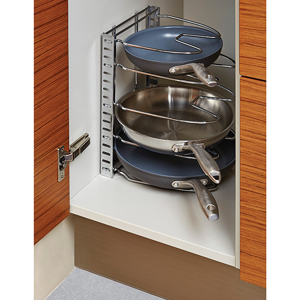 iris chrome cookware organizer the container store rh containerstore com Cabinet Pot and Pan Rack Cabinet Pot and Pan Rack