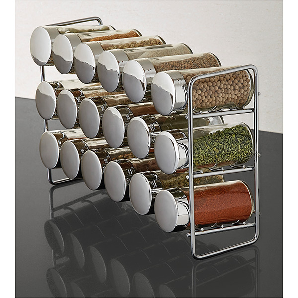 Polder Chrome 18 Bottle Spice Rack The Container Store