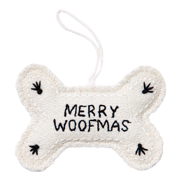 Merry Woofmas Bone Tie-On Ivory