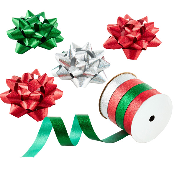 Prismatic Bow & Ribbon Tower Red/Green/Silver Pkg/4