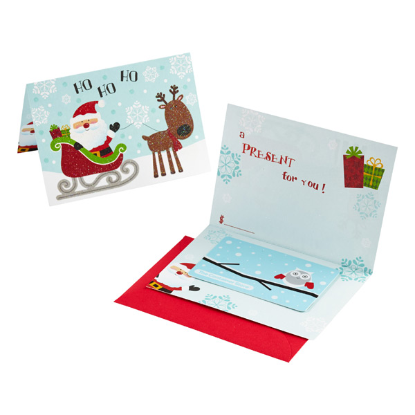 Santa Sleigh Gift Card Holder Pkg/6