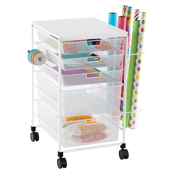 elfa Mesh Gift Wrap Cart White