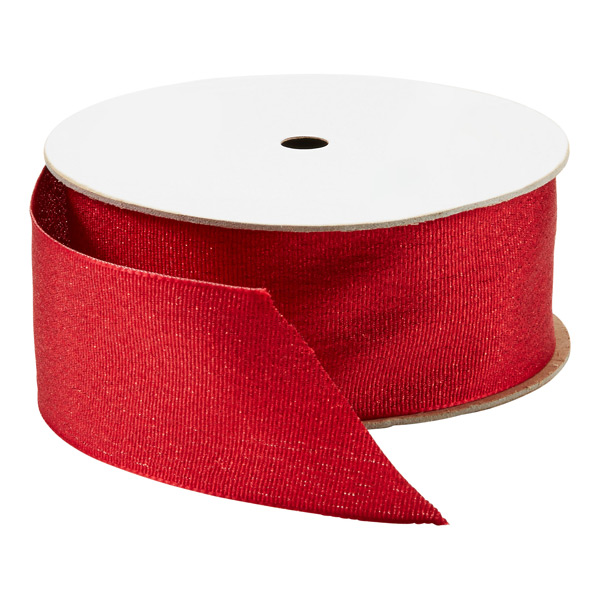 Wired Ribbon Metallic Grosgrain Red