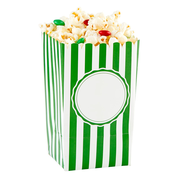 Popcorn Boxes Stripe Green Pkg/6