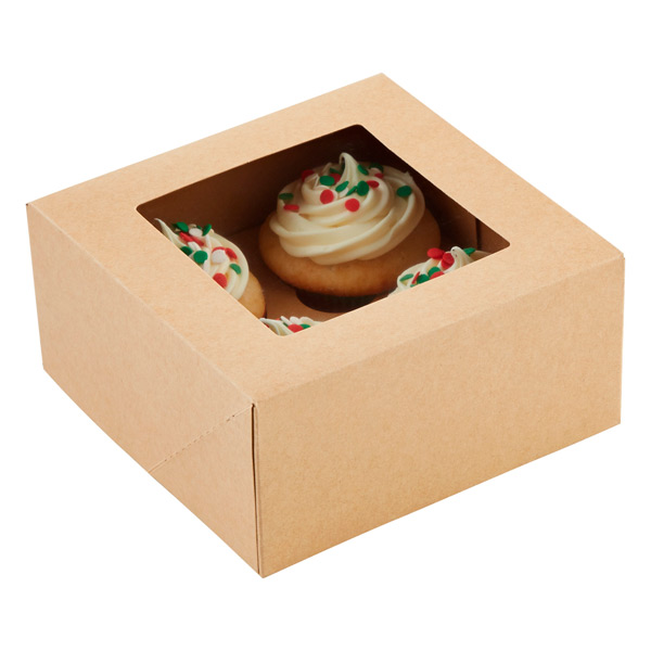 Cupcake Treat Box Kraft Pkg/3