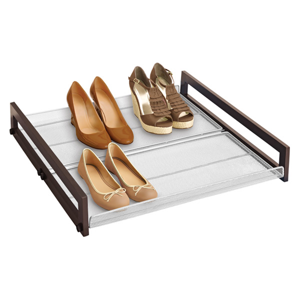 Walnut Sliding Underbed Shoe Organizer