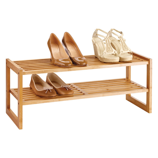 2-Tier Stackable Shoe Shelf Bamboo