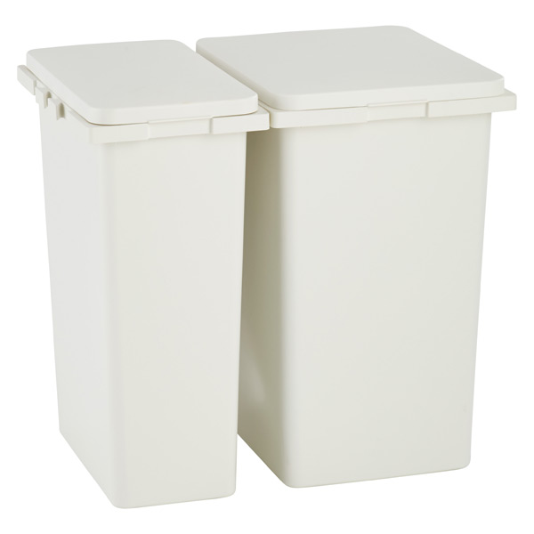 Iris White Connectable Trash Cans with Hinged Lids The Container Store