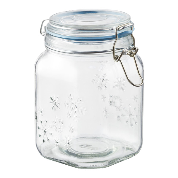 38 oz. Snowflake Hermetic Jar Blue Gasket