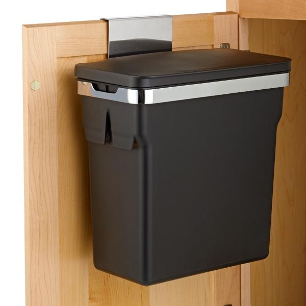 Trash Can Waste Basket Cabinet Door, Trash Can For Kitchen Cabinet Door Wastebasket