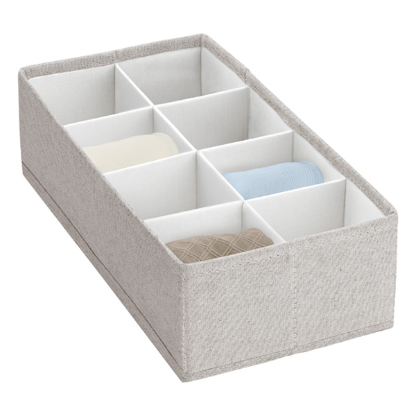 8-Section Adjustable Twill Drawer Organizer Cocoa