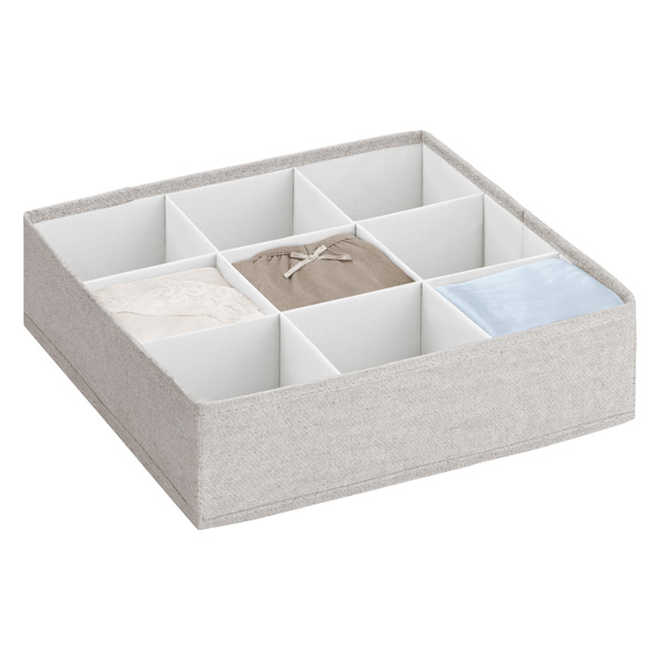 9-Section Adjustable Twill Drawer Organizer Cocoa