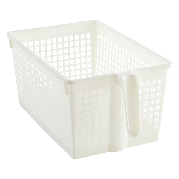 Large Handled Storage Basket White