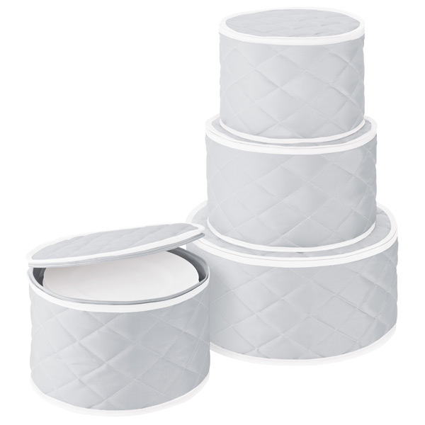 Quilted Dinnerware Storage Cases Grey Set of 4