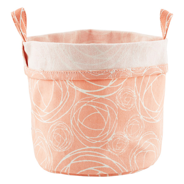 Fabric Bucket Roses Pink