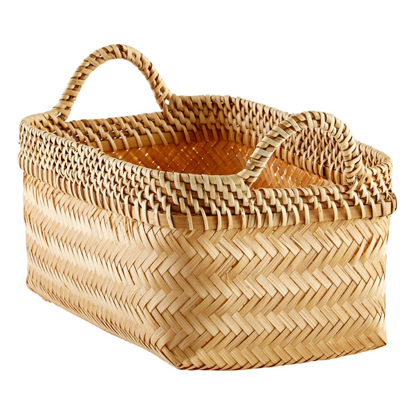 Small Woven Bamboo Basket w/ Handles Natural