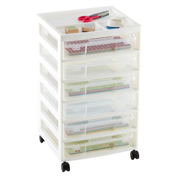 6-Case Scrapbook Cart White