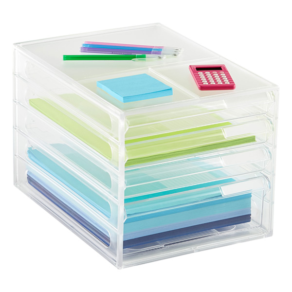 4-Drawer Desktop Paper Organizer Clear