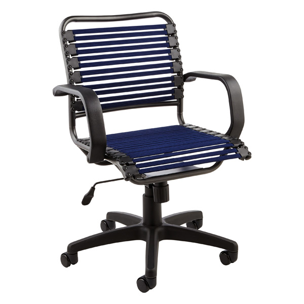 Navy Flat Bungee Office Chair With Arms