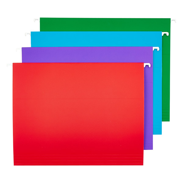 Letter- Size Hanging File Folders Assorted Colors Pkg/12
