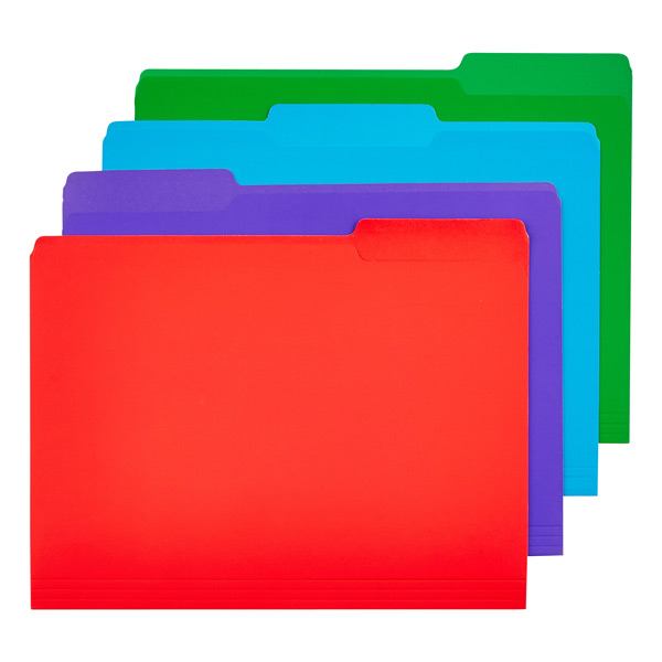 Letter-Size Interior File Folders Assorted  Colors Pkg/12