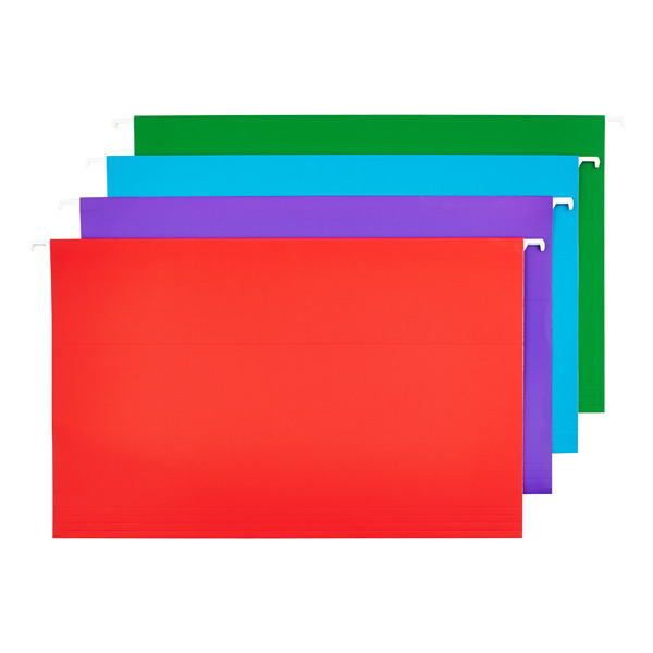 Legal- Size Hanging File Folders Assorted Colors Pkg/12