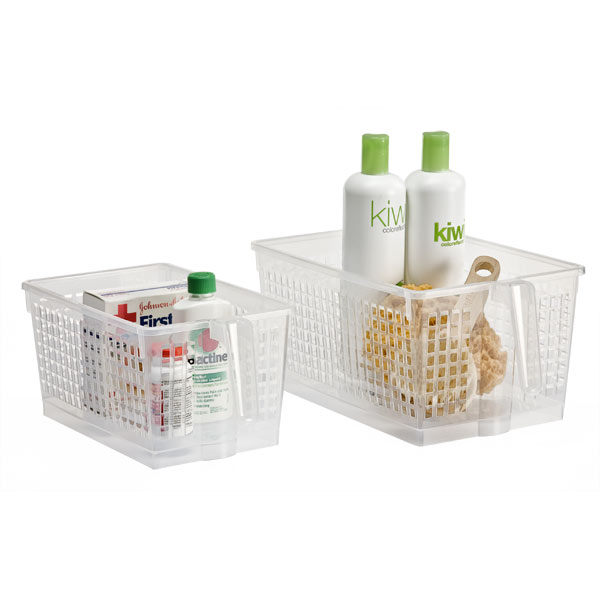 Clear handled storage baskets the container store - Plastic bathroom storage containers ...