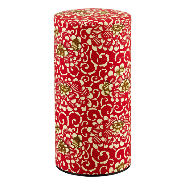 20 oz. Washi Paper Tea Tin Red Chrysanthemums