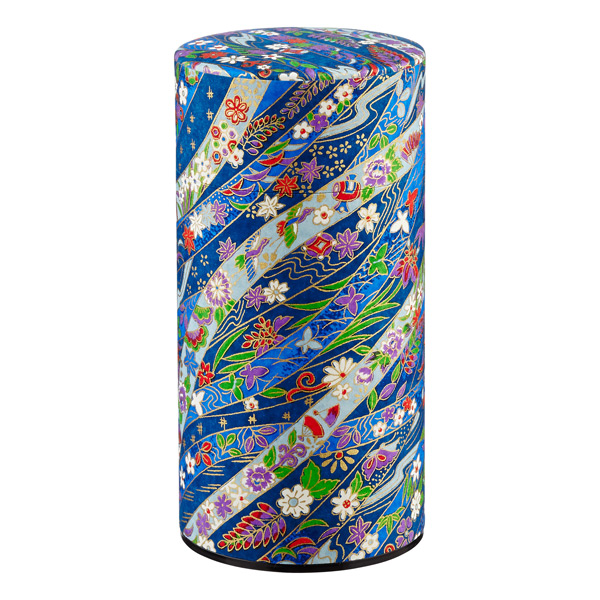 20 oz. Washi Paper Tea Tin Imari Ribbon