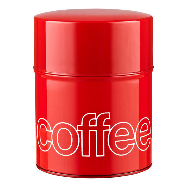 13.2 oz. Tin Coffee Canister Red Lacquer