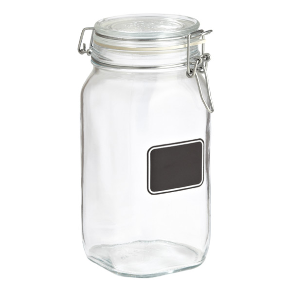 1.6 qt. Hermetic Jar w/ Chalk Label 1500 ml.