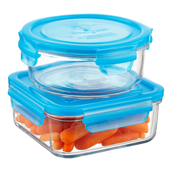 blue food storage containers