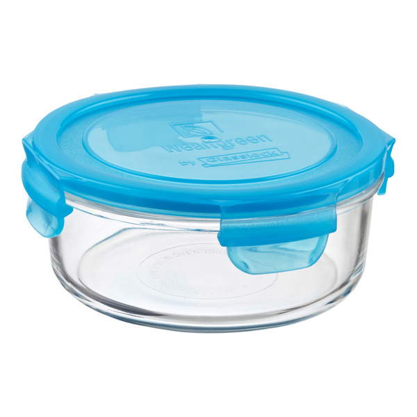24 oz. Round Glass Container Blue Lid