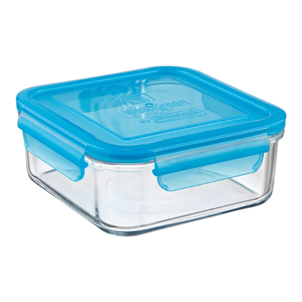 28 oz. Square Glass Container Blue Lid