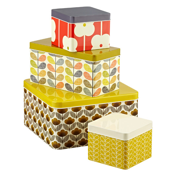 Orla Kiely Biscuit & Cracker Tins Assorted Patterns Set of 4