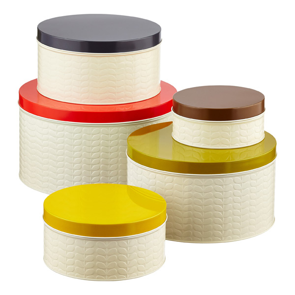 Orla Kiely Embossed Stems Round Cake Tins Assorted Lids Set of 5