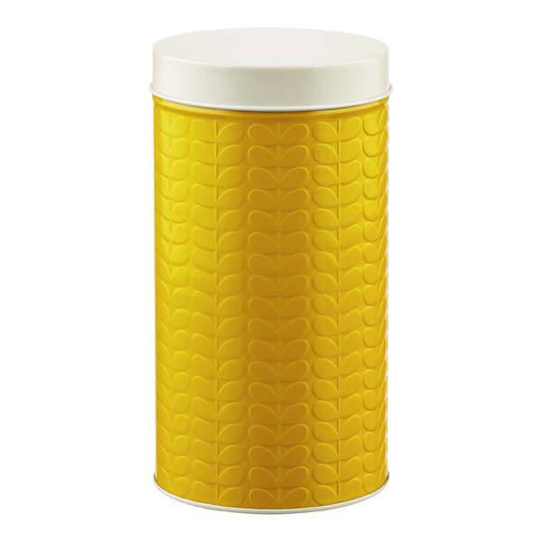 Orla Kiely Embossed Stems Round Canister Mustard
