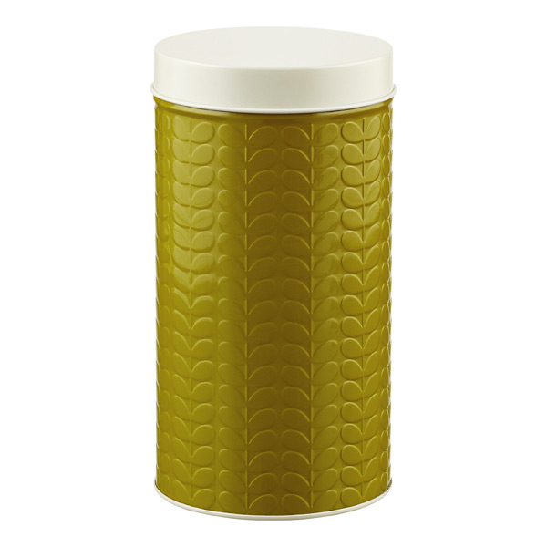 Orla Kiely Embossed Stems Round Canister Olive