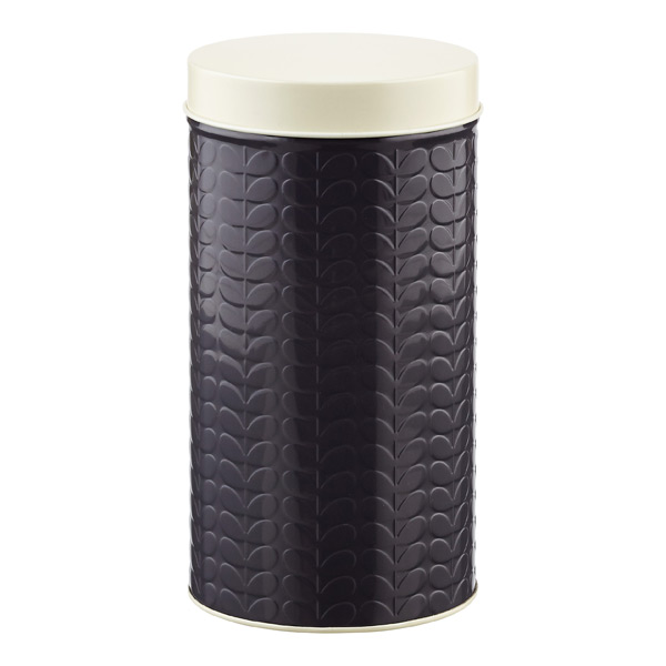 Orla Kiely Embossed Stems Round Canister Slate