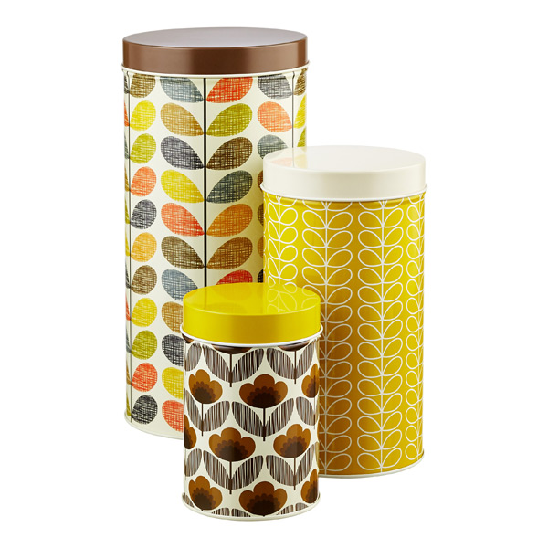 Orla Kiely Round Canisters Browns & Yellows Set of 3