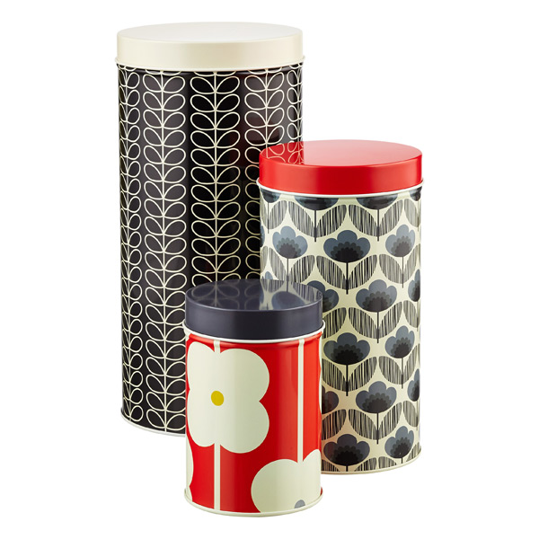 Orla Kiely Slate & Red Round Canister Set