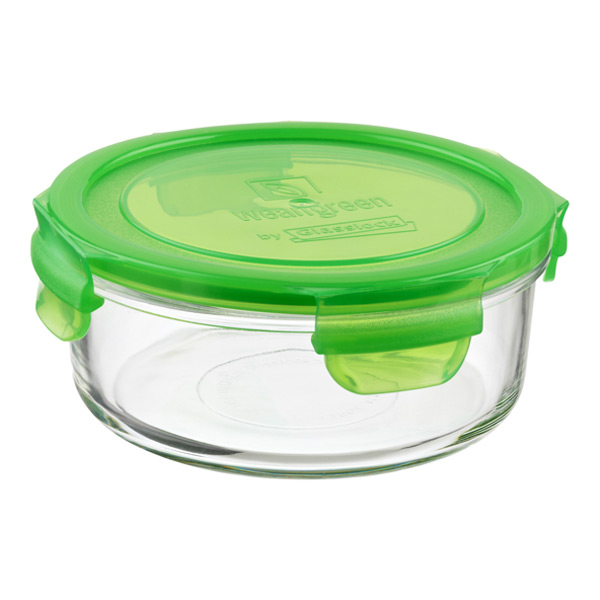 24 oz. Round Glass Container Green Lid