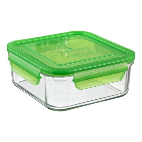 31 oz. Square Glass Container Green Lid