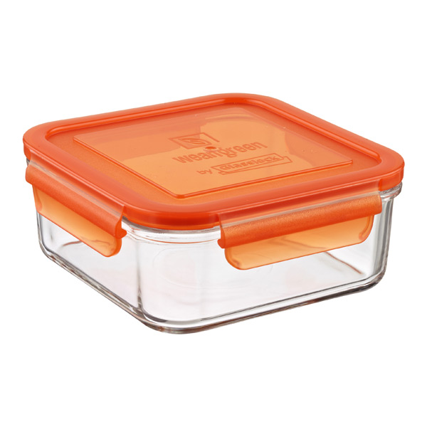 31 oz. Square Glass Container Orange Lid