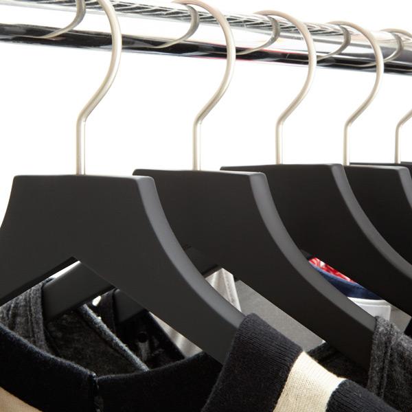 basic black soft matte wooden hangers
