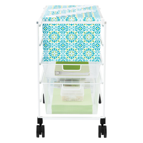 White elfa Mesh File Carts