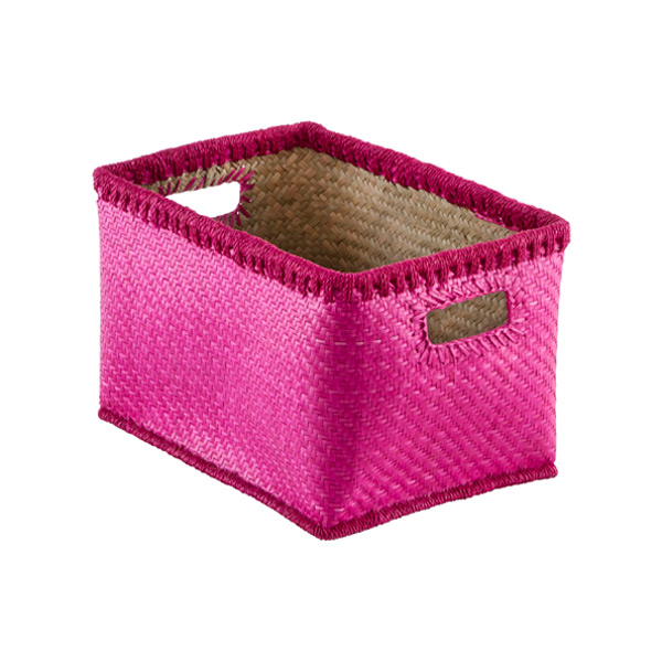 Medium Woven Palm Bins Pink