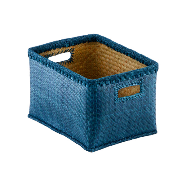 Medium Woven Palm Bins Cobalt Blue